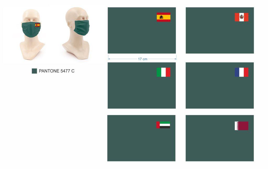 Masque microfiber protection drapeaux